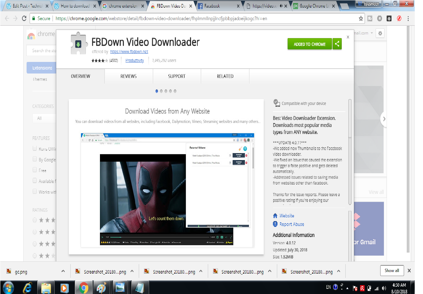 Download facebook videos using chrome